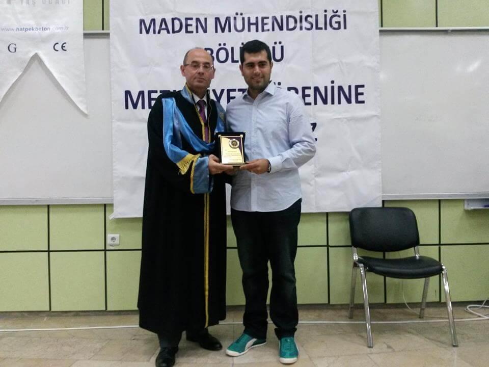 Maden Mühendisliği Bölümünden Ödül